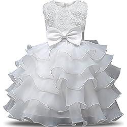 NNJXD Falda de Chicas con Volante de Encaje Vestidos de Boda y Fiesta Talla (140) 6-7 Años Flor Blanco