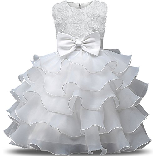 NNJXD Mädchen Kleid Kinder Rüschen Spitze Party Brautkleider Größe(150) 7-8 Jahre Blumen Weiß (Kleid Weiß Mädchen)