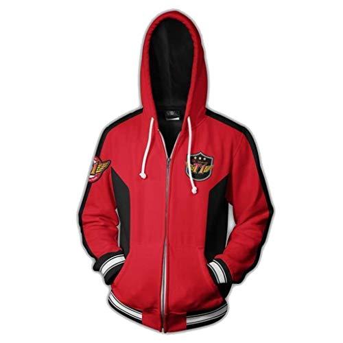 SDKHIN 3D gedruckte Sweatshirt Skt1 Team Uniform Jacke Baseball Cardigan Wei Kleidung Faker mit dem gleichen Absatz männlichen Kapuzen-Reißverschluss,Red-XL