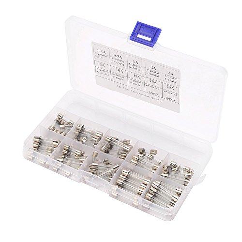 KKmoon Insgesamt 100 Stücke Fast-blast Auto Glas Sicherungen Rohr Assorted Kit 55 Stücke 5x20mm 45 Stücke 6 * 30mm Ampere 0,2A 0,5A 1A 2A 3A 5A 10A 15A 20A 30A -