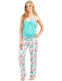 c0e96f09f Adriana Arango Women s Pyjama Set Trendy Racerback Top Patterned Pants  7532
