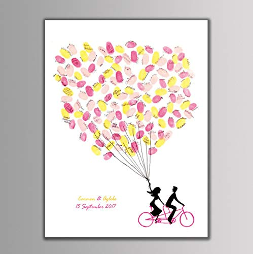PANDABOOM DIY Ehe Paar Hochzeit Fahrrad Liebhaber Leinwand Fingerabdruck Teilnahme Zeichnen Malen Tapete Gast Unterschrift Bücher Ohne Rahmen 30x40Cm - Fahrrad Hochzeit
