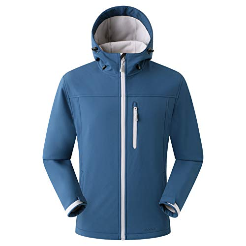 Amazon Marke: Eono Essentials Herren-Softshell-Jacke mit Kapuze, Übergangsjacke, Dunkelblau, Large Kapuzen Sport Jacke