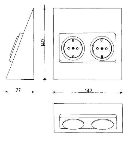 Heitronic Rechteck-Doppelsteckdose aus Edelstahl - 2