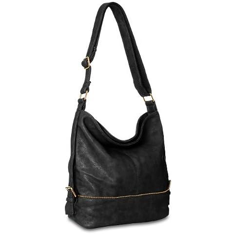 CASPAR TS732 große Damen Umhänge Tasche, Farbe:schwarz