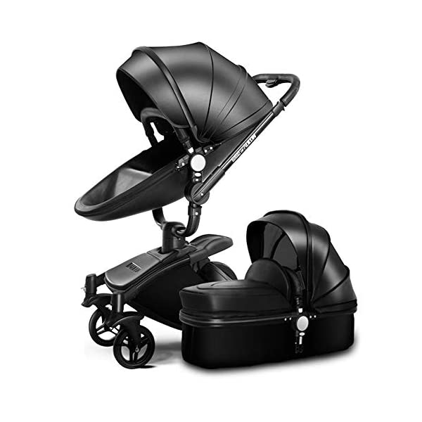 HZC Baby Stroller Bassinet Carriage 3-in-1 Shock-Resistant High Landscape Luxury Pram Stroller for Newborn and Toddler (Color : A) HZC ✔ Completely designed with Safety standard, 100% PU leather material of Egg Seat and Bassinet, this perfect match feel more luxurious and fashionable and easy to clean ✔ In the sleeping basket mode, the 360-degree rotation function allows the cart seconds to change the cradle, sitting and lying double mode, switching in any way ✔ DOCTOR recommends: Newborns are not fully developed due to bone development. A sleeping basket stroller is recommended. The baby's skull is not long, the neck and spine are very fragile. In the baby stroller with poor shock resistance, it is easy to cause physical damage to the baby! 1