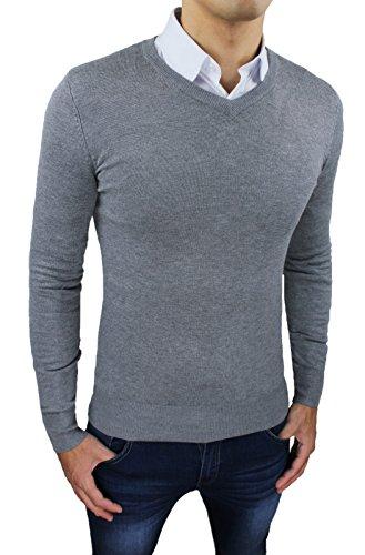 Maglioncino pullover uomo casual grigio scollo a V invernale maglia golfino slim fit aderente (L)