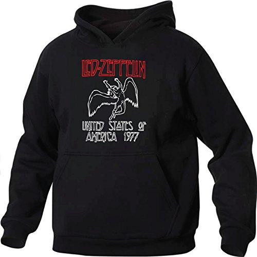 Art T-shirt, Felpa Con Cappuccio Led Zeppelin, Uomo, Nero, S