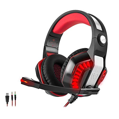 Gaming Headset - Gaming Headset für PS4 Xbox One PC, Beexcellent GM-2 Professional Deep Bass Kopfhörer mit Mikrofon LED Licht für Laptop Mac Handy Tablet (Red, GM-2)