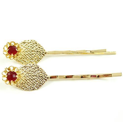rougecaramel - Accessoires cheveux - Mini pince fantaisie métal doré forme feuille 2pcs - rouge