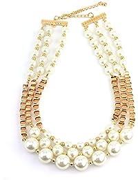 Magnifique collier couleur or à chaînes cubiques et fausses perles INC3035G