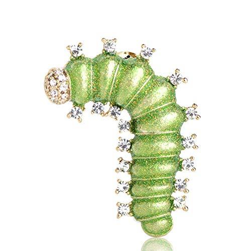QSCVHU Neue ivid Green Seidenraupe Broschen Gold Farbe Emaille Kleidung Schmuck Raupe Insekt Brosche Frauen Kinder - Frauen Engel-hut Für