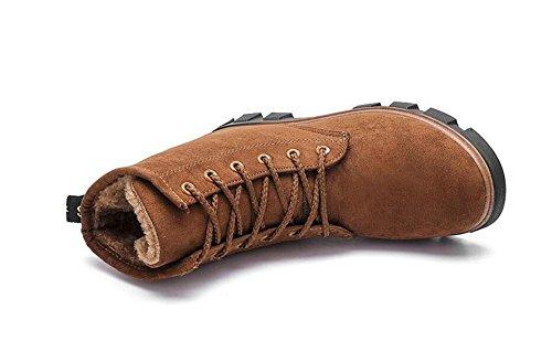 KUKI Stivali da donna, scarpe da donna, scarponi da neve, versione piatta, versione coreana, stivali Martin, inverno, più cotone, scarpe da donna in cotone, caldo brown