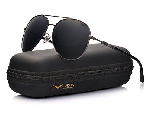 LUENX Herren Damen Aviator Polarisierte Sonnenbrille mit eleganten Brillenkette Fall 4MT41Y