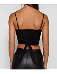 VITryst-Women Pure Color Crop Backless Deep-V Neck Strappy Suspender Vest