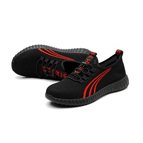 Scarpe Estive di Sicurezza, Scarpe da lavoro di Sicurezza Punta in Acciaio Prevenzione Della Puntura Resistente All'usura Scarpe Sportive da Uomo e da Donna Nero,40