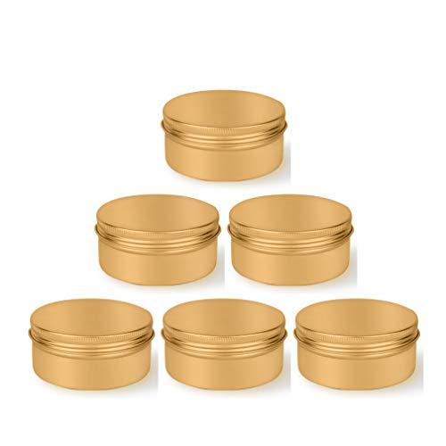 12 Stücke 150ml Gold Aluminium Zinn Behälter Leeren Kosmetische Tiegel Dosen für Creme Gel Lip Balm Kerze Perlen Proben mit Schraubdeckel Reise