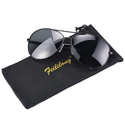 (Feililong Prämie Voll Mirrored Pilotenbrille Flieger Sonnenbrille UV400 Schutz Optimal Entwurf Herren und Frauen Aviator Sonnenbrillen (Schwarze Linse / Schwarze Rahmen))