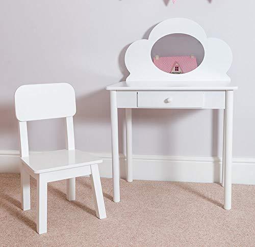 Coiffeuse classique avec chaise pour enfant - Blanc