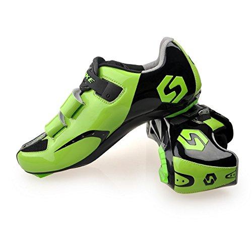 Unisexe respirant chaussures de vélo professionnels pour route et VTT SD-001 Noir / Vert pour le Route