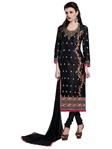 MANVAA Women's Cotton & Crush Dress Material (KPNGN21005_Free Size_Black)