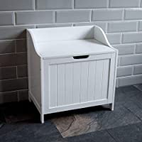 Home Discount Priano Bathroom Laundry Cabinet Storage Cupboard Chest Bin Wooden Basket Unit, White