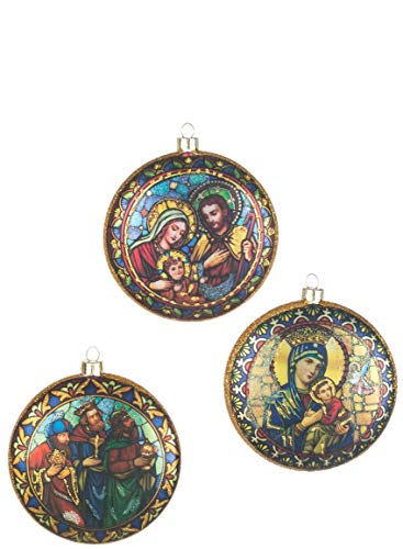 Sullivans Nativity Scenes Hand Painted, Disc Shaped Glass Christmas Ornaments, Set of 12 in 3 Styles, 4 Inch, Gold - Christmas Nativity Set Tree