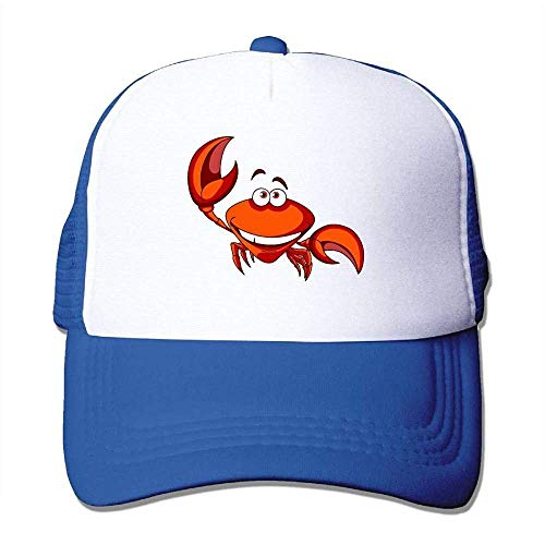 Hoswee Unisex Kappe/Baseballkappe, Happy Smiling Red Cartoon Marine Crab Men Women Mesh Back Trucker Cap Air Mesh Polyester Cap -