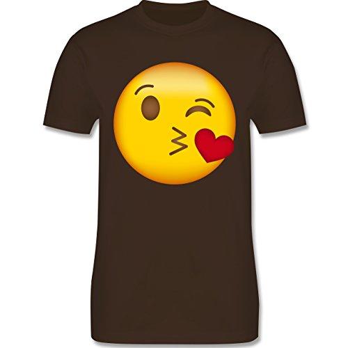 Shirtracer Comic Shirts - Emoji Kuss-Mund - Herren T-Shirt Rundhals Braun