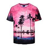 UJUNAOR Mann Rundhals-T-Shirt 3D-Drucken Tee Shirt Casual Kurzarm Bluse(Multicolor,CN 2XL)
