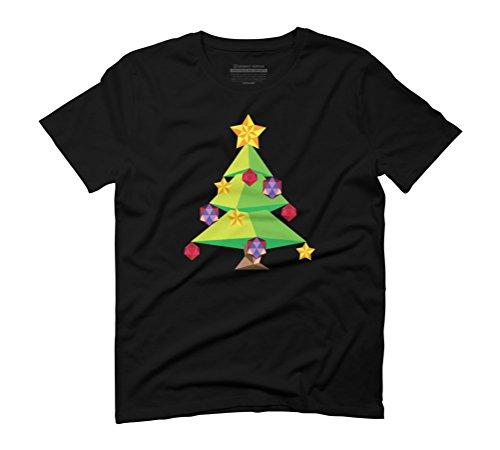 Green Polygonal Xmas tree Men's Graphic T-Shirt - Design By Humans Black