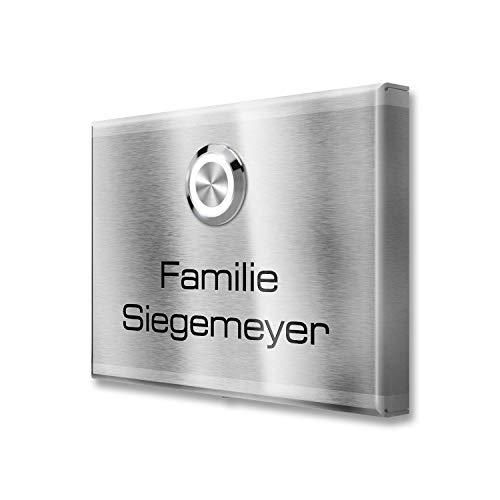 Aufputz Türklingel aus Edelstahl mit Klingeltaster - Klingelplatte inkl. Gravur/Beschriftung mit Wunsch-Name - einfache Aufputz-Montage- Maße: 110 x 80 x 11 mm