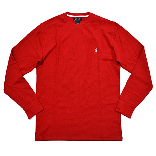 POLO RALPH LAUREN Herren Waffelstrick Rundhals Shirt - rot - Small (Us Polo By Ralph Lauren)
