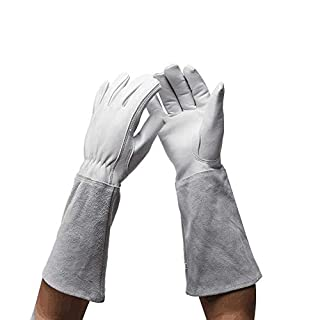 Professional Long Gardening Gloves Women Rose Pruning Gloves, Goatskin Leather Thorn Proof Garden Gloves with Long Cowhide Gauntlet for Flower Planting, Pruning YLST11 (M:15.7inch, Grey White)
