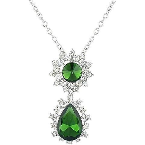 EVER FAITH®collana del pendente Teardrop di cristallo verde austriaco Silver-Tone - Diamante Gioielli Di Famiglia