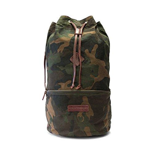 DRAKENSBERG Seesack und Rucksack Kimberley-Camo-Light-Duffel-Bag, gewachste Baumwolle, Leder, 52 cm, 41 L, Camouflage, DR00138 (Canvas Rucksack Gewachstem Herren)