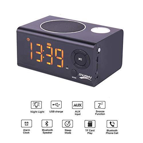Tragbare Multifunktions Lautsprecher, Wecker Bluetooth Lautsprecher, Dual-Alarm, LED-Nachtlicht, USB-Ladefunktion, LED-LCD-Spiegel Display, Schwarz. -