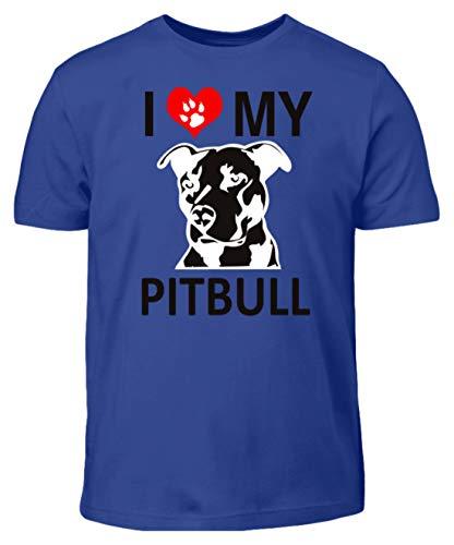 I Love My Pitbull - Pfote mit Herz - Kinder T-Shirt -3/4 (98/104)-Royalblau