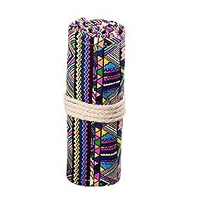 MSYOU – Estuche de lona para lápices, diseño étnico colorido, multifunción, para guardar brochas de maquillaje, material escolar y de oficina 20cm*34cm 24 Hoyos