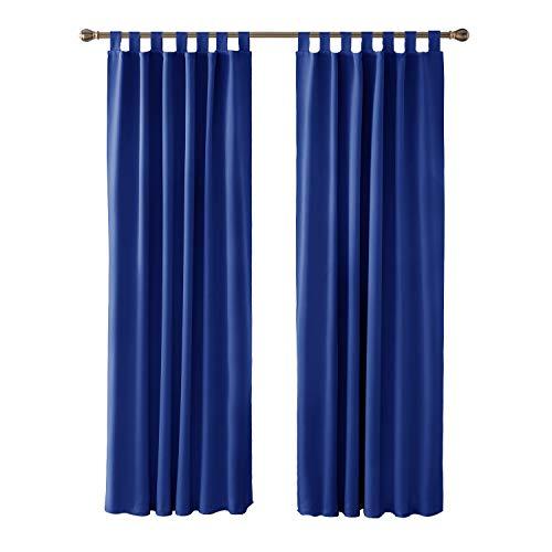 Deconovo tende oscuranti termiche isolanti con passanti per porta finestre interni 100% poliestere 117x229 cm 2 pannelli blu elettronico