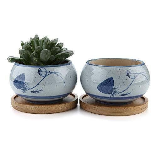 t4u vaso per pianta grassa vaso di piante con vassoio di bambù esagono marrone 8cm ceramica il giro set di 2, fioriere di cactus contenitori vasi di fiori decorativo del desktop regalo di natale