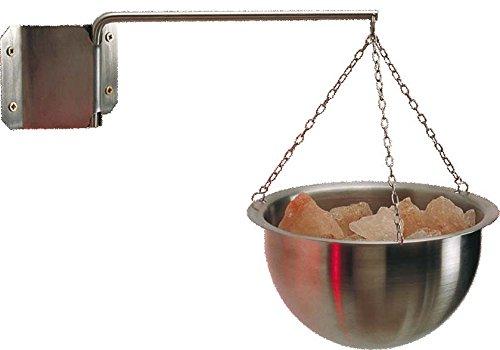 EOS Multicup aus Edelstahl für die Sauna, inkl. 1 kg Himalaya-Salzkristallen, mit Aufhängung und Wandhalterung