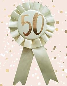 Alandra Birthdays RGB-50 - Roseta de 50 cumpleaños en Color Crema y Oro Rosa metálico, Talla única