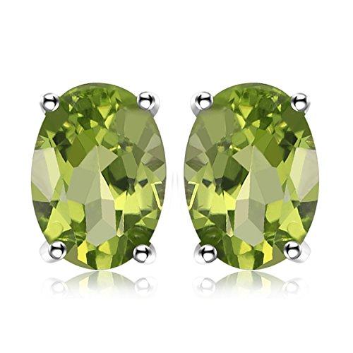 JewelryPalace Oval 1.8ct Natürliches Grün Peridot Birthstone Ohrstecker Echtes 925 Sterling Silber