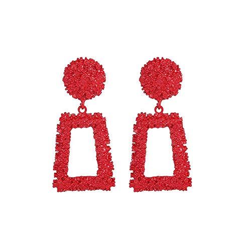 YEARNLY Frauen Drop Ohrringe große geometrische Anhänger Ohrringe Statement Schmuck weibliche 1 Paar Schwarz, Gold, Rot, Silber, Gelb