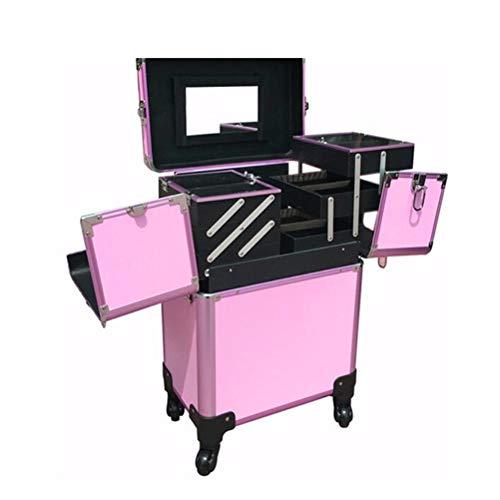 Malette maquillage Beauty case grande avec roulette Double Open avec miroir vanity case Tattoo Nail Beauty Multi-Layer Box,Pink