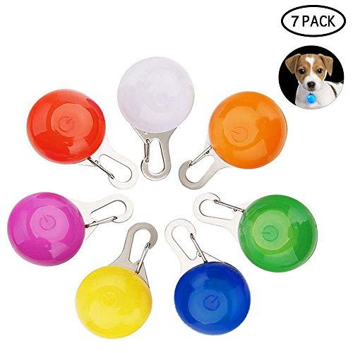 KOBWA 7 Piezas Clip-On Perro Gato Mascota Collar Luces