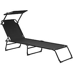 [casa.pro] Bain de soleil pliable 190cm noir avec toiture aluminium