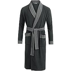 langmantel herren bade langarm baumwolle v neck Bindegürtel morgenmantel pyjama nachtmantel, 8056_Hellgrau, Gr. EU54/XXL