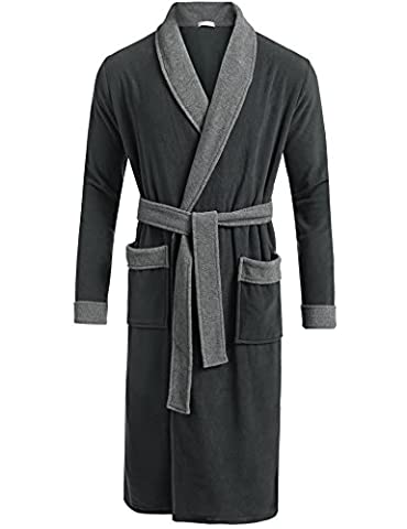 unisex saunamantel lang baumwolle locker pyjama bade sleepwear nachtmantel schlafmantel winter (Nacht Bade)